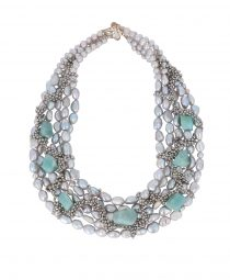 Grey pearls and Amazonite chunks